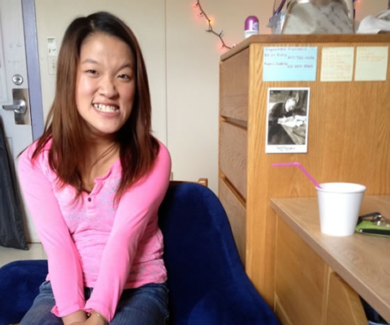 Sarah Kim in her freshman dorm at Barnard