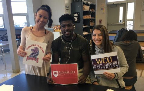 Dominique Pirrozzi (left), Fairleigh Dickinson; Tyrique Hall, Albright; Katie Reilly, West Chester