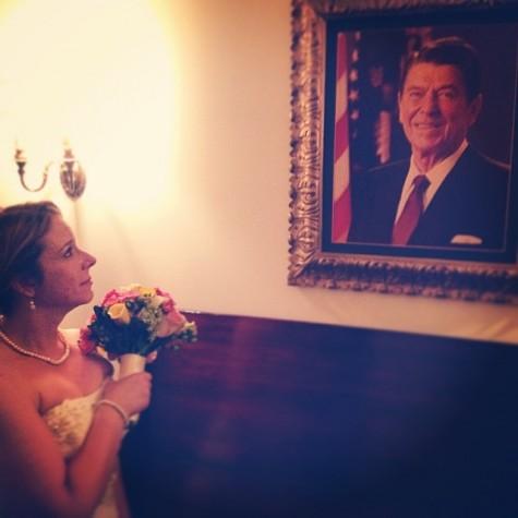 The newly married Mrs. Richardson gazing longingly at her longtime idol.