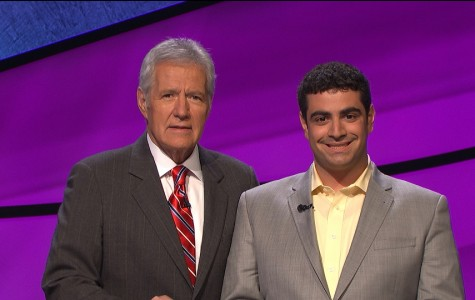 Matthew LaMagna with Jeopardy host Alex Trebek