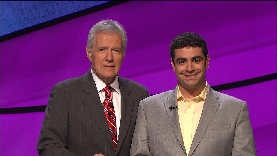 Matthew LaMagna with Jeopardy host Alex Trebek