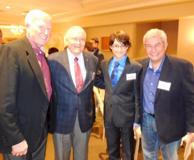 Alex with Fred Haise (Apollo 13 Lunar Module Pilot), Marcos Pontes (Soyuz/Space Station Crew), and Jon McBride (Space Shuttle Commander)