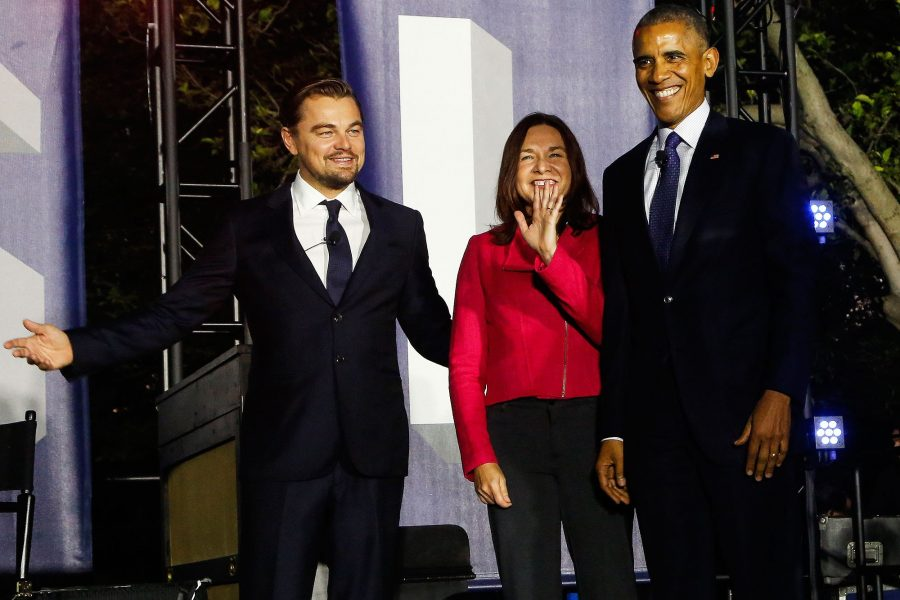 Leonardo DiCaprio, climate scientist Katherine Hayhoe, and President Barack Obama meet to discuss climate change