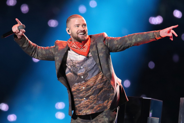 MINNEAPOLIS, MN - FEBRUARY 04:  Recording artist Justin Timberlake performs onstage during the Pepsi Super Bowl LII Halftime Show at U.S. Bank Stadium on February 4, 2018 in Minneapolis, Minnesota.  (Photo by Christopher Polk/Getty Images) ORG XMIT: 775109419