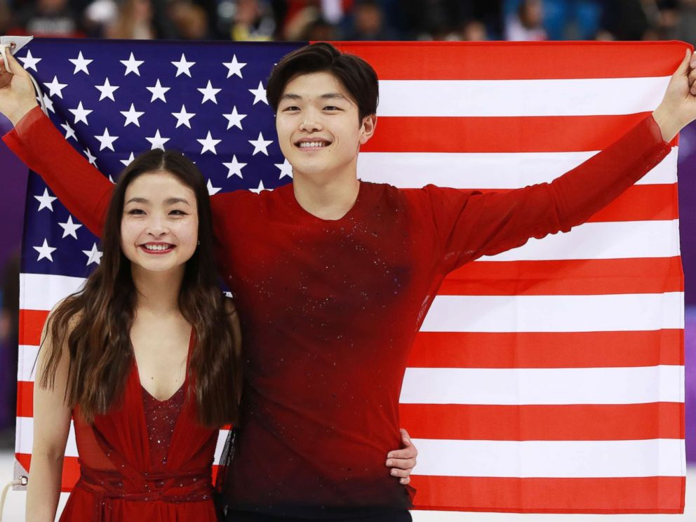 Alex and Maia Shibutani celebrate their bronze medal at the 2018 Olympics  (ABCNews.com)