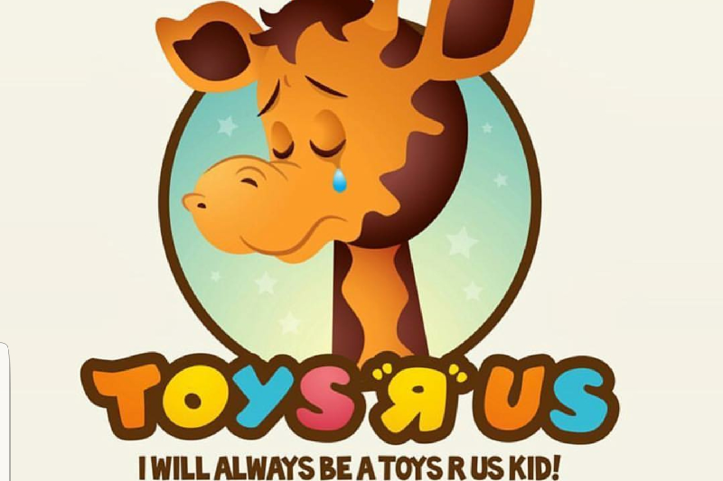 Geoffery the Giraffe, Toys R Us's longtime mascot, cries sad tears with the thought of closing (image courtesy of GoFundMe.com)