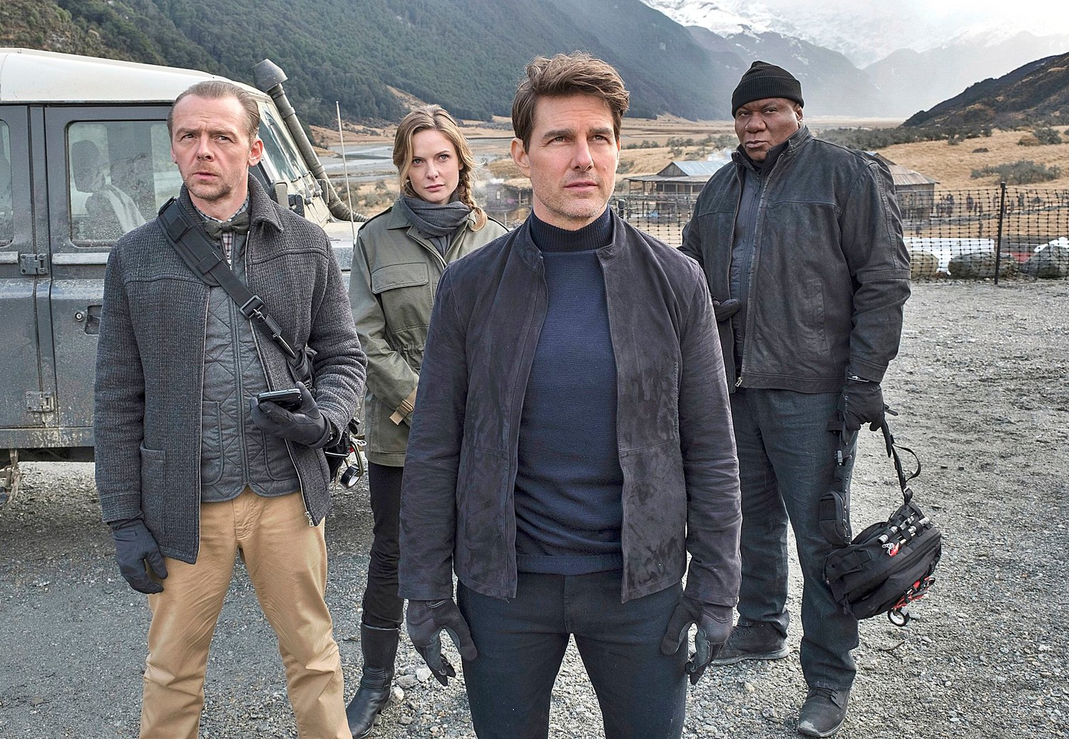 This image released by Paramount Pictures shows, from left, Simon Pegg, Rebecca Ferguson, Tom Cruise and Ving Rhames in a scene from